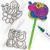 Postes Atrapasol para Jardín o Adorno de Maceta. Manualidades Creativas para Niños Perfectas como Decoraciones de Primavera (Pack de 6)