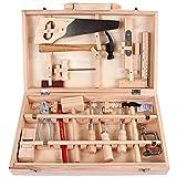 Foluton Kinder Deluxe Holz Werkzeugkoffer Mehrfarbig mit 16 Teilen für Kleine Heimwerker ab 7 Jahren Laubsäge-Set im Holzschrank Laubsägeschrank mit Stahlwerkzeugen Klassiker