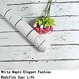 Papier de contact en bois blanc Film de vinyle auto-adhésif PVC Papier peint en bois gris blanc Durable Cuisine Autocollants Salle de bains Étanche Étagère Comptoir Table Peel Stick 45cm * 2m