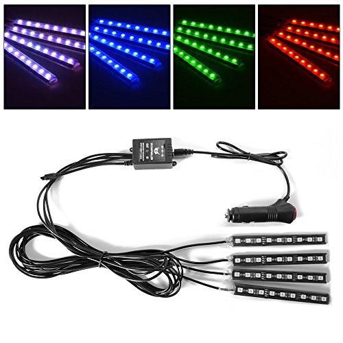 4pcs Kit Interni vano Illuminazione 8 LED a colori, interni Atmosfera Neon Strip luci per l'automobile con musica funzione attiva e telecomando IR Controllo