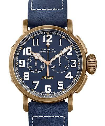 Zenith Pilot Type 20 - Cronografo automatico da uomo, quadrante blu, 29.2430.4069/57.C808