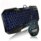 Aula azul LED retroiluminado Iluminado Multimedia Gaming Teclado y Ratón Kit