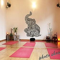 """mairgwall elefante pegatinas de pared Yoga Vinilo Adhesivo de Pared, Boho Mural de pared Home ropa de cama Decor Nursery, vinilo, negro, 54""""h x35""""w"""