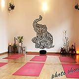 mairgwall Indien Art Wand Elefant Yoga Wandaufkleber Wohnzimmer Decor Schlafzimmer Dekoration Wohnheim, Vinyl, schwarz, 46