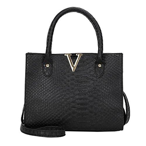 TUDUZ Handtasche Damen Umhängetasche Alligator Muster Schultertasche Crossbody PU Leder Tasche (Schwarz)