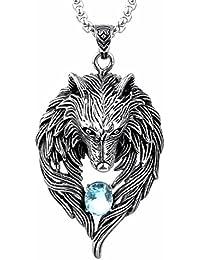 2db4a0d6d95 COPAUL Bijoux Acier Inoxydable Pendentif Collier Homme Loup Cristal