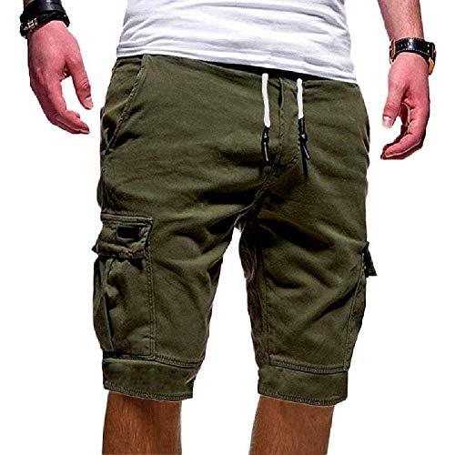 Cindeyar Herren Cargo Hose Shorts Sommer Bermuda Kurze Hose Chino Jogger Hose(Grüne.M) -
