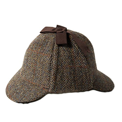 Failsworth, Sherlock-Holmes-Mütze, Deerstalker-Hut aus Harris Tweed, grünes Muster, 2013 Gr. Small, Pattern 2013 Tweed-trilby