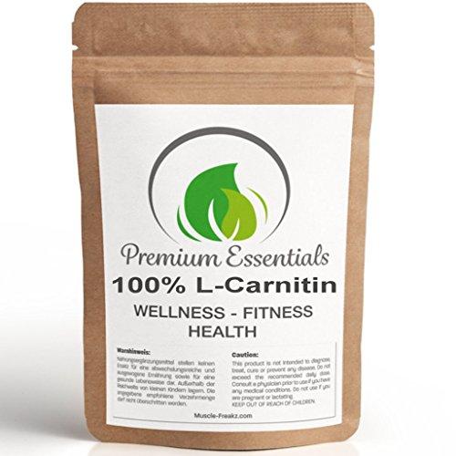 100% CARNITIN - PURES L-CARNITIN PULVER - 250g für 80 Tage! - OHNE ZUSÄTZE - 3000mg Tagesportion | Für die Unterstützung der Gewichtsreduktion | Grundbaustein der Fettverbrennung