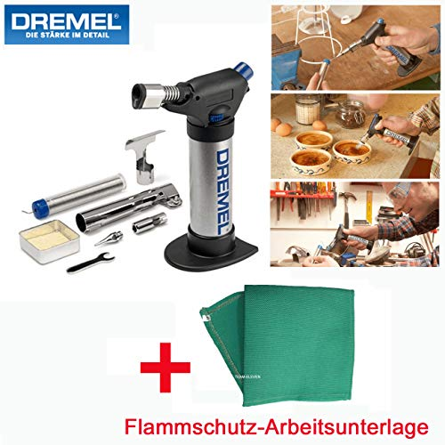 DREMEL Gas Lötkolben/Stationärer Brenner VersaFlame mit Piezozündung - inklusive 4-tlg. Zubehörset, Katalysator, Flammschutz-Arbeitsunterlage und Metall-Aufbewahrungsbox