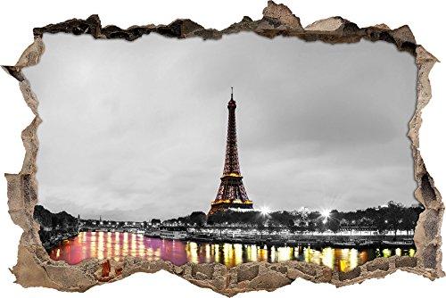 Impressionante Torre Eiffel a Parigi in bianco / svolta muro bianco in formato sguardo, parete o adesivo porta 3D: 62x42cm, autoadesivi della parete, autoadesivo della parete, decorazione della