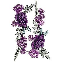 bestwahl encaje bordado Venise Floral escote cuello cuello recorte ropa coser Applique Craft DIY as photos Purple Rose
