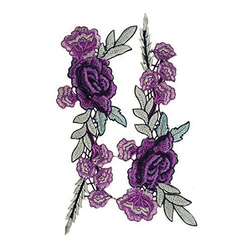 Blumenstickerei Rose Blumen Stickerei Nähen Aufnäher Aufbügler Applikation (Lila Rose) (Machen Sie Ihre Eigenen Kostüm Kit)
