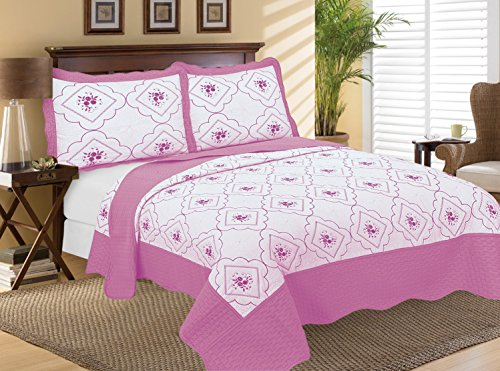 Bettset mit Tagesdecke und Kissenbezügen, Baumwolle/Polyester-Baumwoll-Mischgewebe, rose, King Size (Blue King-size-schlafzimmer-set)