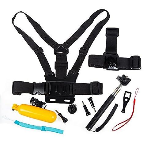 10 en 1 Gopro Accessoires, THZY Kit d'accessoires de Caméra d'Action pour Gopro Hd Hero 4 Session / Hero + LCD / 3+ / 3/2, sangle de tête & sangle de poitrine et monopode portable & Poignée Flottante & sac à transport
