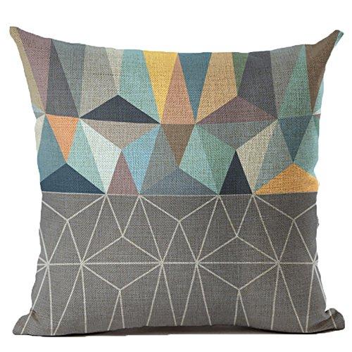 Coolsummer cotone lino quadrati Throw Pillow Cover cuscino decorativo colorato astratto geometrico federa con cerniera nascosta per divano, letto, sedia, sedile auto 45,7x 45,7cm, UKS036A1, 18 x 18