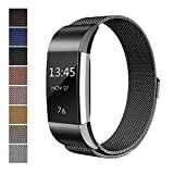 Fitbit-Charge-2-Accessory-Band-Milanese-Loop-Stainless-Steel-Bracelet-Strap-Replacement-Wristband-with-Unique-Magnet-Lock-for-Sport-Fitness-Tracker-Fitbit-Charge-2-Heart-Rate