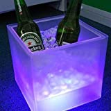 Impermeabile cambia colore 40 cm x 40 cm x 40 cm Half Hollow Out Ice Box Cube Light Lamp, LED supporti per champagne, vino, birra, contenitori, RGBW LED sedia sgabello mobili con telecomando, batteria LED cubo per tavolo da giardino, bar, club, KTV, party, indoor e outdoor attività