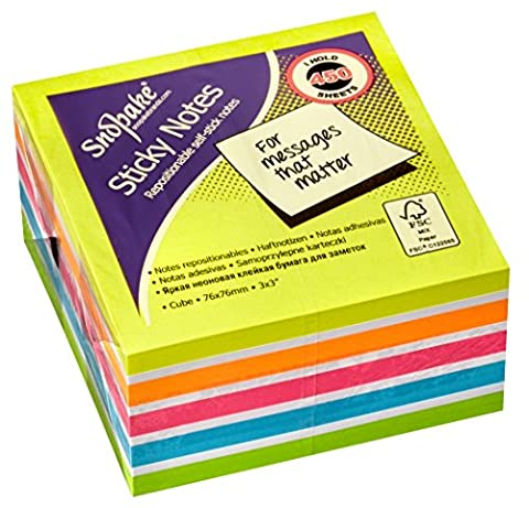 Snopake 76 x 76 mm Sticky Note Cube - Multi Colour/Rainbow/Neon Mix Colours (Pack of 450 Sheets)