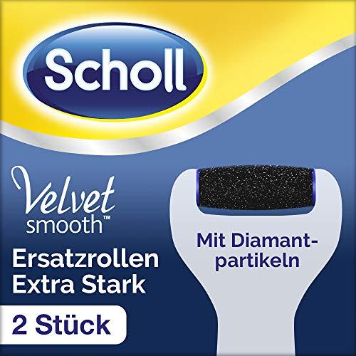 Scholl Velvet Smooth Ersatzrollen, Pedi Nachfüller, Rolle elektrischer Hornhautentferner, Pediküre, Fußpflege, Extra Stark mit Diamantpartikeln, 1er Pack (1 x 2 Rollen)