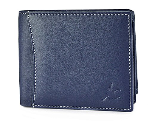 Hornbull Men's Navy with White Seam Themes Leather Wallet