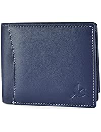 HORNBULL Men's Leather Navy Blue Wallet