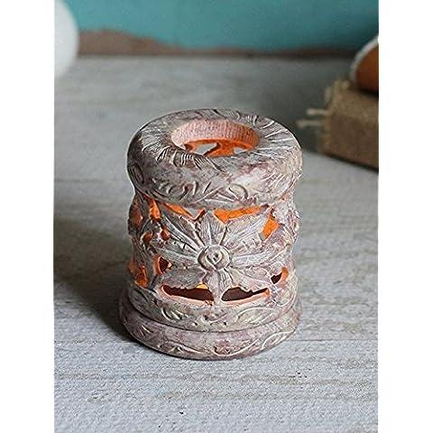 Store Indya, La esteatita natural Te luz de la vela votiva del sostenedor del quemador de incienso con floral