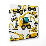 Bild auf Leinwand Canvas–Gerahmt–fertig zum Aufhängen–Maschinen Terra–Bagger Traktor–Illustration für Kinder Dimensione: 70x70cm A - Senza Cornice