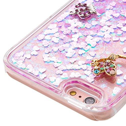 iPhone 6S Plus Hülle, iPhone 6 Plus Hülle, Gift_Source [ Gold & Engel Krone ] Schutzhülle harte plastik Schutz Handy Hülle Case, Creative 3D strom flüssiger durchdrungen von glitzer und sterne Hülle C E1-Rosa & Engel Krone