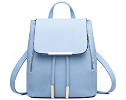 Bizanne Fashion Girl's Canvas Vogue College Bags Backpacks (Blue)