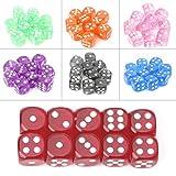 Manyo 10pcs Mehrfarbig 6 Seitige Würfel, leicht und tragbar, perfekt für Brettspiel, Club und Bar Spiel Tool, Familienspiel, Math Teaching. (Rot)