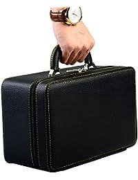 f635b36963a Oirlv Estuche de almacenamiento de viaje de la maleta de la joyería de  cuero negro para