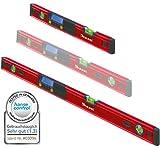 Kaleas Digitale Wasserwaage 2er Set 40cm/100cm mit 3-fach Libellen, integrierten Magneten und Schutz-Tasche (34190.K2)