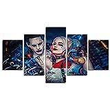 Leyruk 5 Pièce Clown et Harley Quinn Film Peinture pour Salon décor à la Maison Toile Art Mur Affiche (No Frame) Unframed HF63 50 inch x30 inch