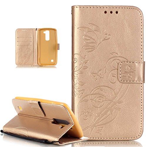 Kompatibel mit LG K10 Hülle,LG K10 Lederhülle,LG K10 Handyhülle,Prägung Blumen Reben Schmetterling PU Lederhülle Handyhülle Handy Tasche Flip Wallet Ständer Etui Schutzhülle für LG K10 3G / 4G,Golden