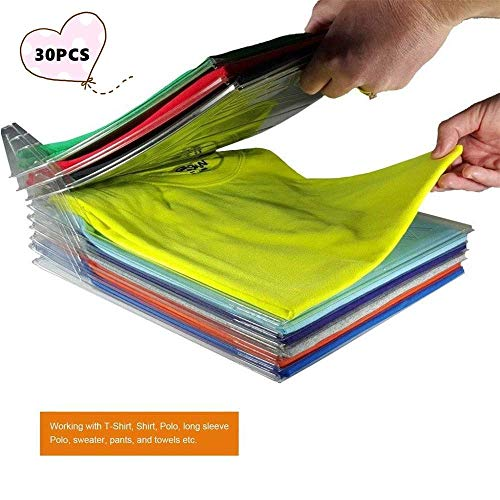 Yoouook organizer per armadio,organizzatore di armadi,pieghevole abbigliamento board,closet organizer camicia cartella - 2 in 1 cartella t-shirt + cartella di file (30 pz)