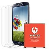 Galaxy S4 Akku NFC Google Wallet, YONTEX Ersatzakku 2600mAh für Samsung S4 mit 3 Pack Bildschirmschutzfolie [i9500, i9505, LTE i9506]