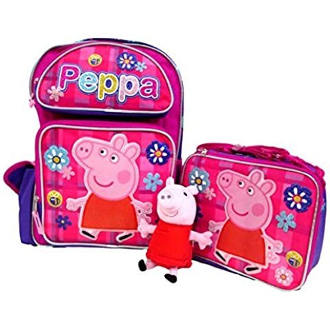 Peppa Pig Large 16 Backpack Book Bag, Lunch Box & Plush Doll Set by Bag2School by Bag2School