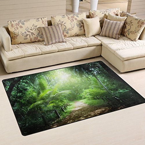 COOSUN Way In Jungle Of Seychelles Islands Area Rug Carpet Non-Slip Floor Mat Doormats for Living Room Bedroom 78.7 x 50.8 cm ( 31 x 20 inch )
