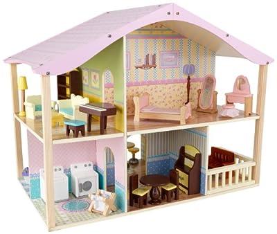 Kidkraft 65260 - Casa de muñecas de lujo en colores pastel con base giratoria de Kidkraft