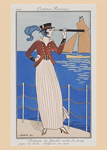 GEORGE BARBIER Kostüme Parisiens COSTUME DE YACHT, 250 g/m ², Hochglanz, A3, vervielfältigtes - Yachting Kostüm