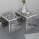 Tidyard Set 2 Tavolini Quadrati Alluminio,Decorativi Tavolini,Consolle Ingresso Moderno Argento