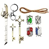 L'attacco dei Giganti emblemi, portachiavi, chiave collana e Spada 9 pezzi di gioielli, Shingeki no Kyojin Set