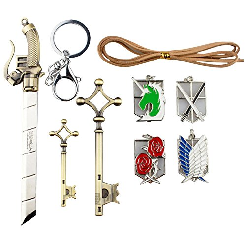 nuoya005-attack-on-titan-emblems-keychains-key-necklace-and-sword-9-piece-jewelry-setshingeki-no-kyo