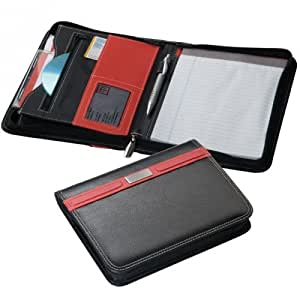 Pochette porte-documents à fermeture à glissière en cuir synthétique avec bloc-notes ligné Format A5 24 x 18,5 x 2,5 cm