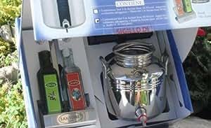 Coffret Cadeau : 1 Petit Fût Inox 3 litres + 2 Bouteilles Verre