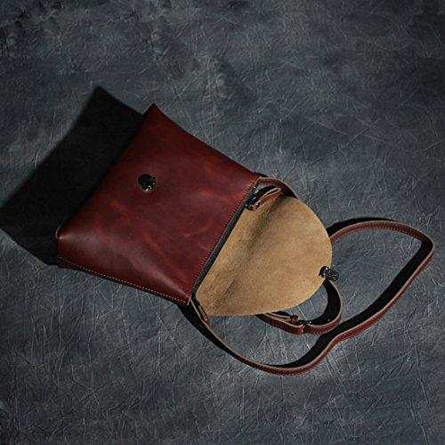 Presentski hecho a mano de cuero genuino Cross-Body bolsas de hombro para las mujeres Uno stile Marrone