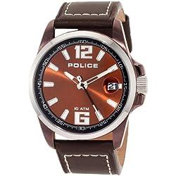 POLICE Herren-Armbanduhr XL LANCER Analog Quarz Leder P12591JSBNS-65