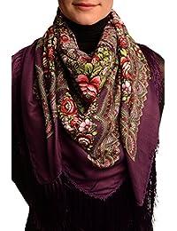 "Purple ""Plyaski"" Slavonic Russian Folk Style Shawl - Purple Floral Scarf"
