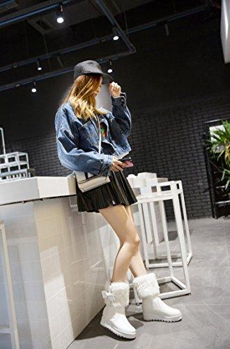 Minetom Femme Hiver Classiques Chaudes Peluche Bottes De Neige Mignons Bowknot Cheville Bottines Antidérapant Chaussures Compensé Boots Blanc